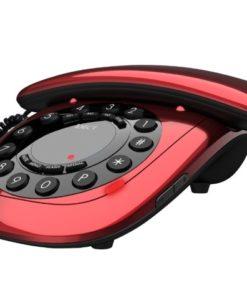 red analog telephone