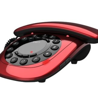 red analog telephone
